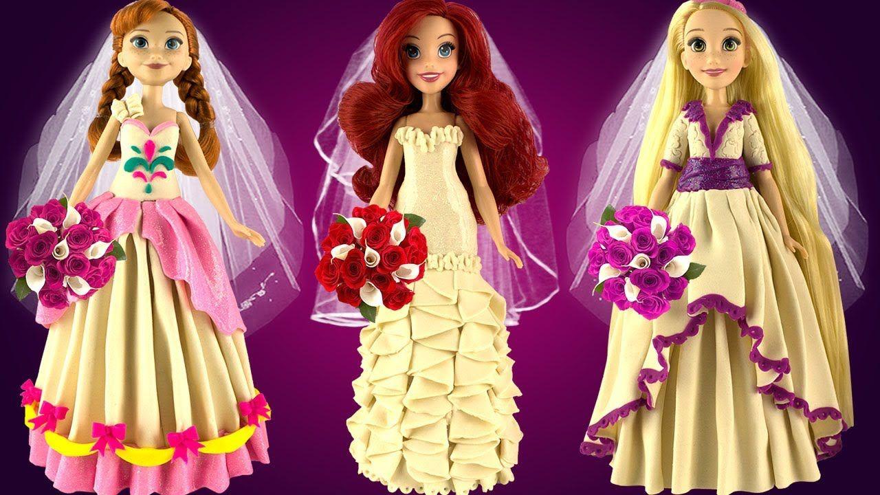 Play Doh Disney Princess Wedding Dress Frozen Anna Rapunzel Ariel Prince