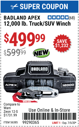 Badland Apex Synthetic 12000 Lb Wireless Winch For 499 99 Harbor Freight Tools Winch Coupon Book