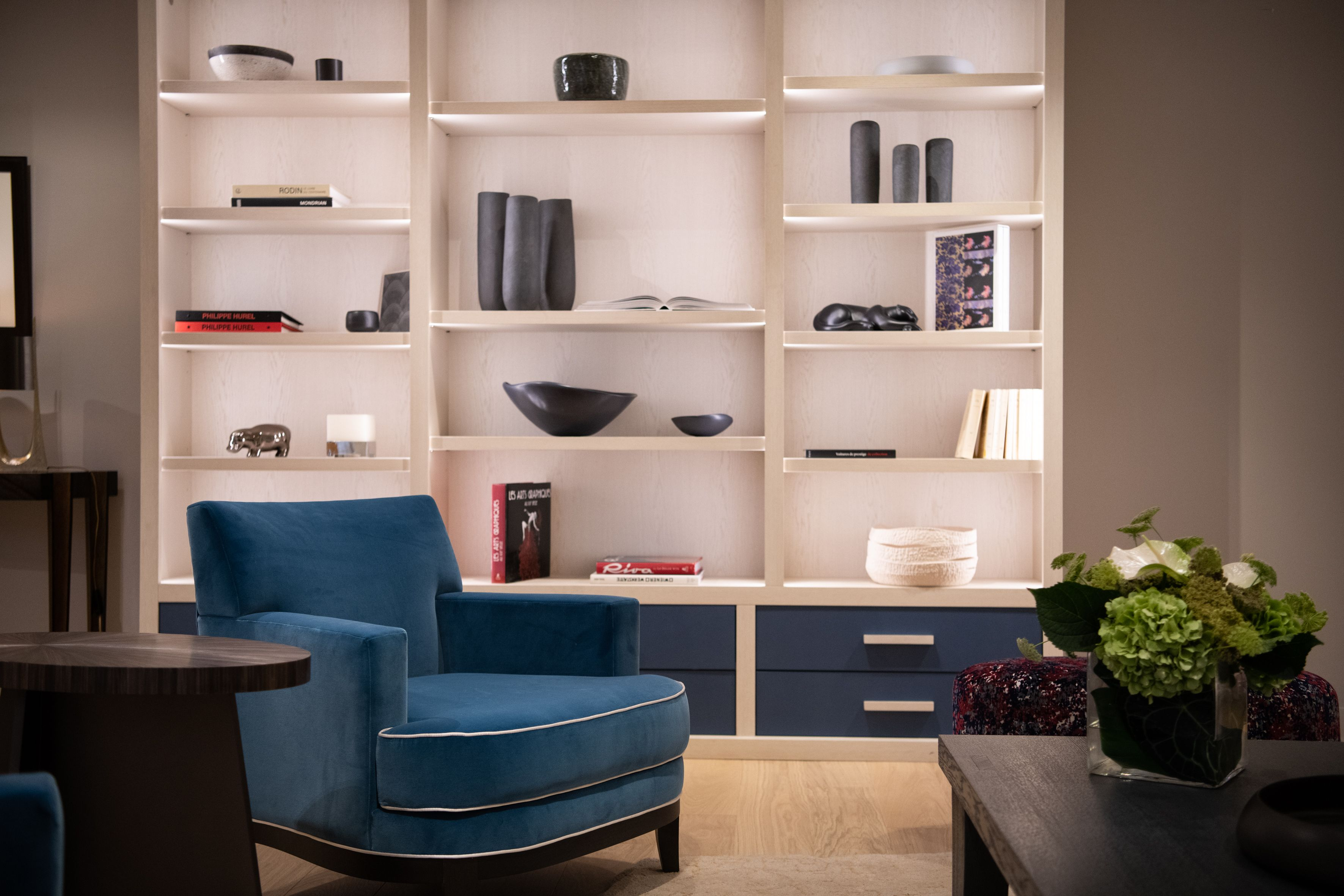 Niels Bergere Chair And Helian Bookshelves By Philippe Hurel Avec