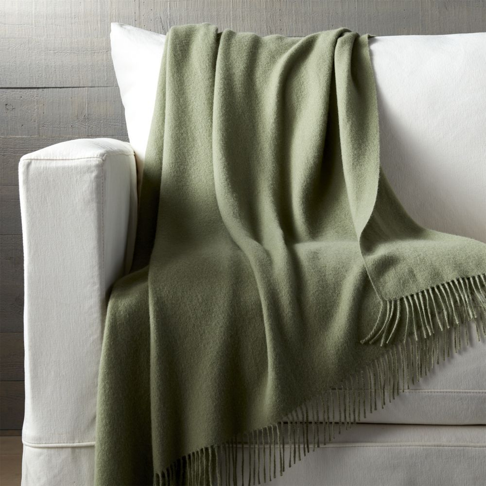 Lima Alpaca Sage Green Throw - Crate and Barrel   Products ...