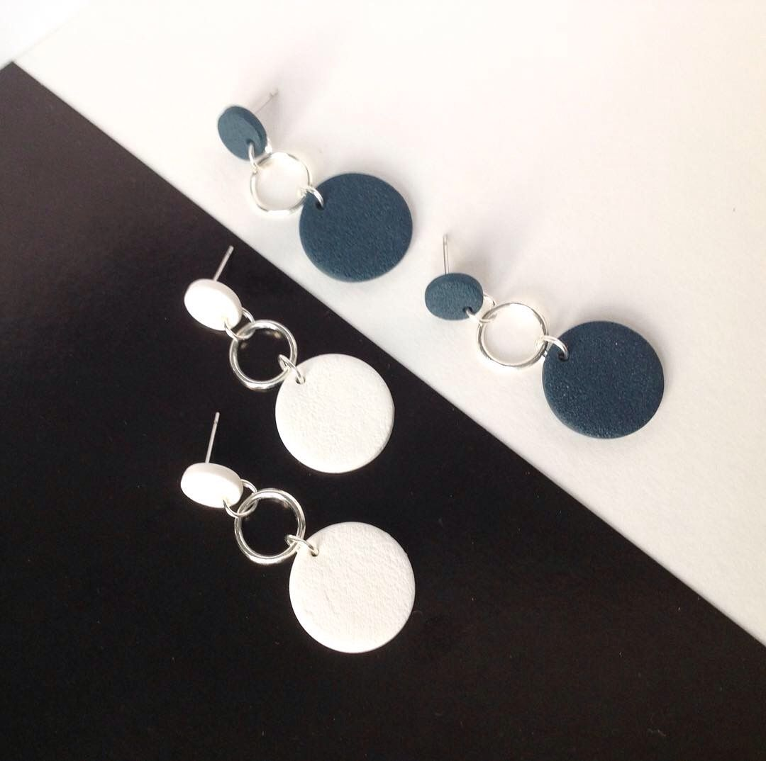 minimal polymer clay earrings in black with high quality crystal attachment