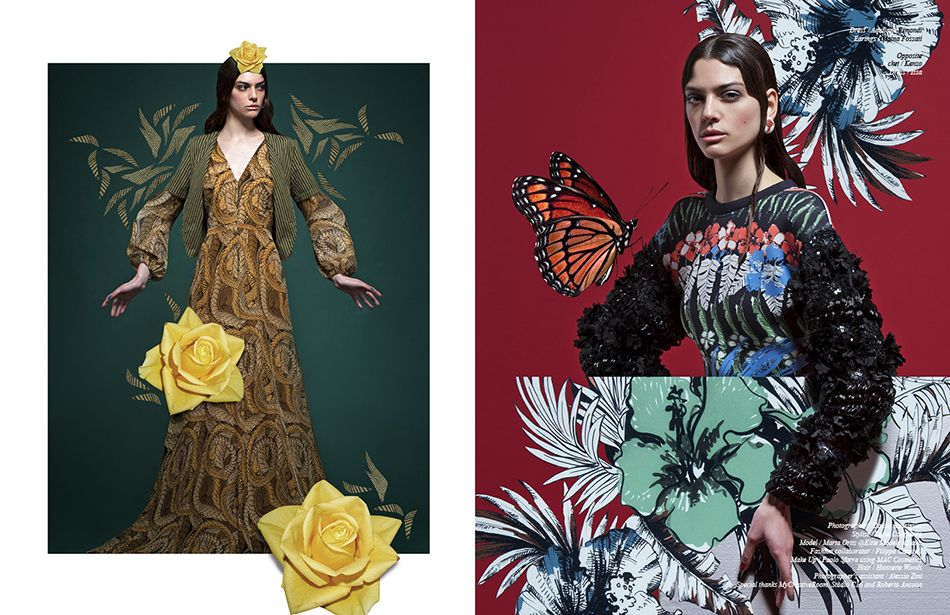 Left Dress / Aquilano.Rimondi Earings / Maina Fossati Right Jacket / Kenzo Dress / Issa