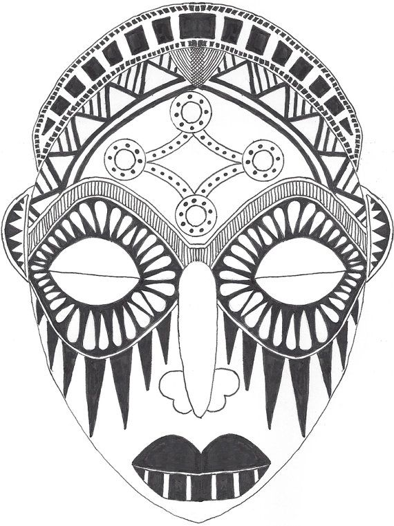 african mask coloring pages - african mask drawing by rileywestgaarddesign on etsy 32