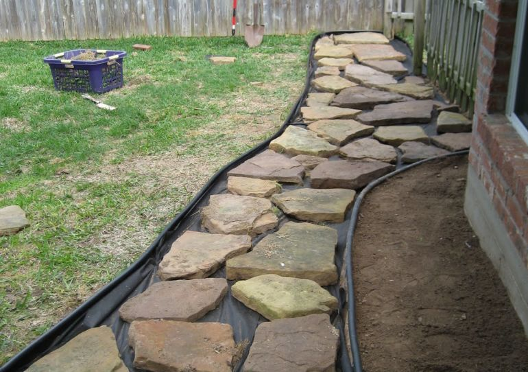 Laying Flagstone Over Concrete Walkway Inlaid Grass Paving