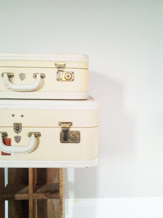 Vintage 2 Piece McBrine Aeropack Cream and White by CocoAndBear, $110.00