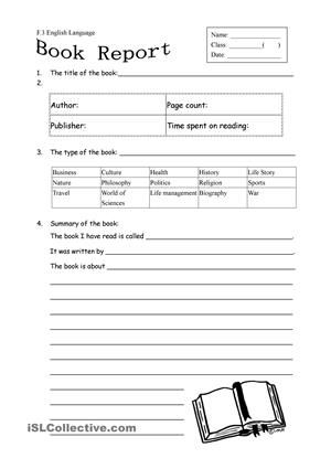 Book report form for non fiction - ESL worksheets Reading - book report template for high school