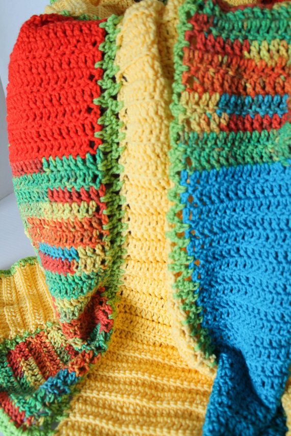 Afghan - Handmade Ripple Crochet Blanket - Queen Size Afghan ...