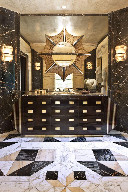 Badezimmer ideen schwarz und gold kelly wearstler  interiors bellagio residence his master bathroom