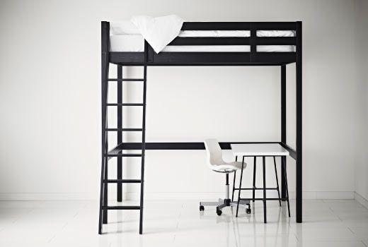 ikea hochbetten und hochbettgestelle wie z b stor hochbettgestell in schwarz ikea. Black Bedroom Furniture Sets. Home Design Ideas