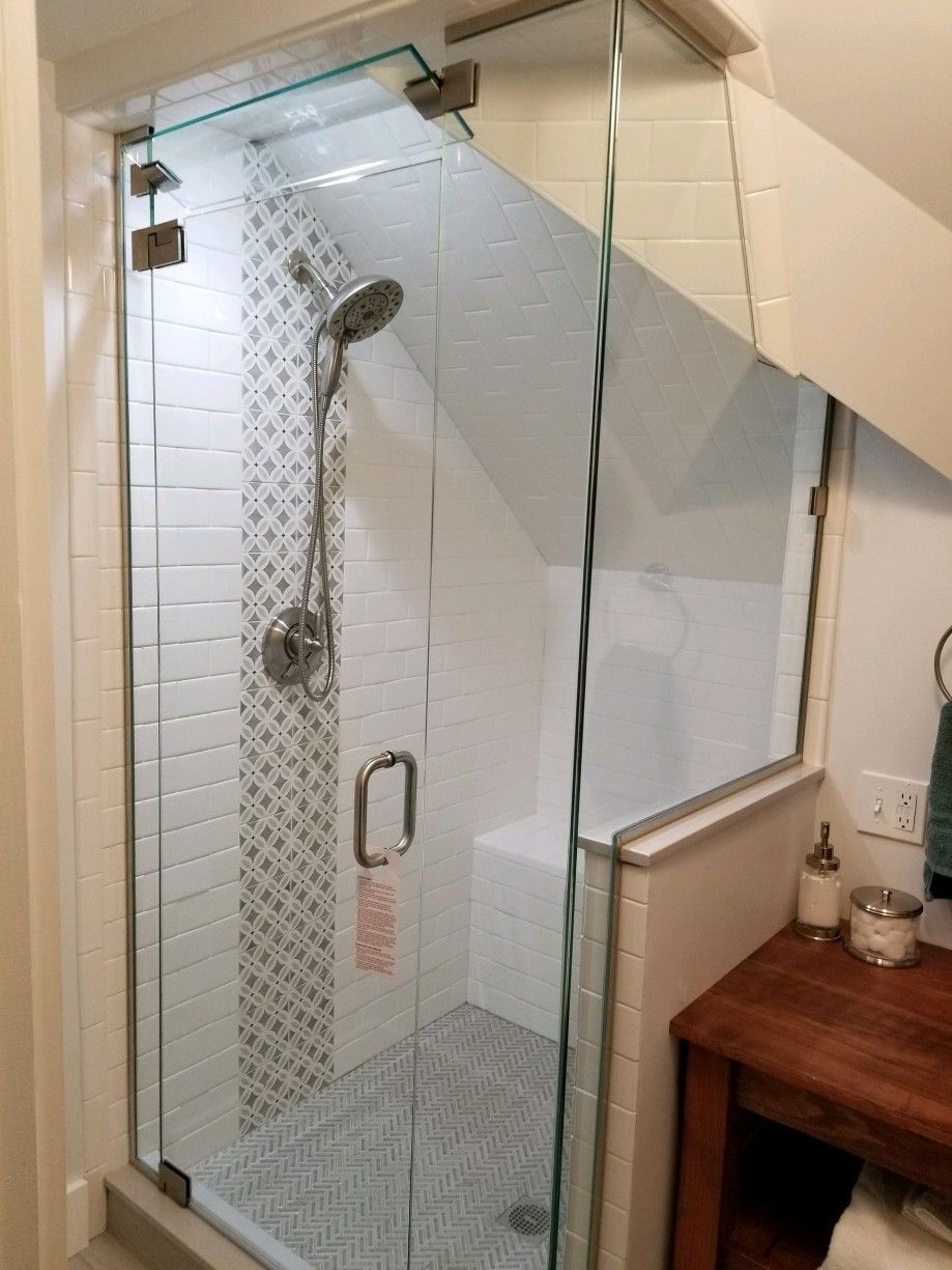 Frameless Steam Shower Enclosure With An Operable Transom Shower