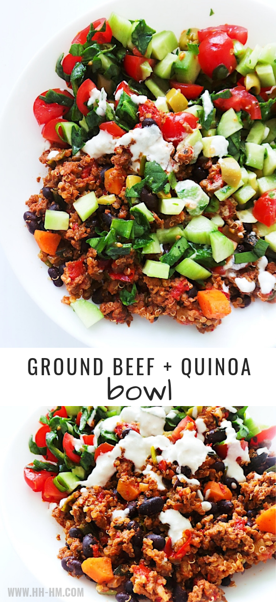 Healthy Ground Beef Quinoa And Salad Bowl Recipe Her Highness Hungry Me Recipe Healthy Ground Beef Salad Bowl Recipes Ground Beef Recipes Healthy