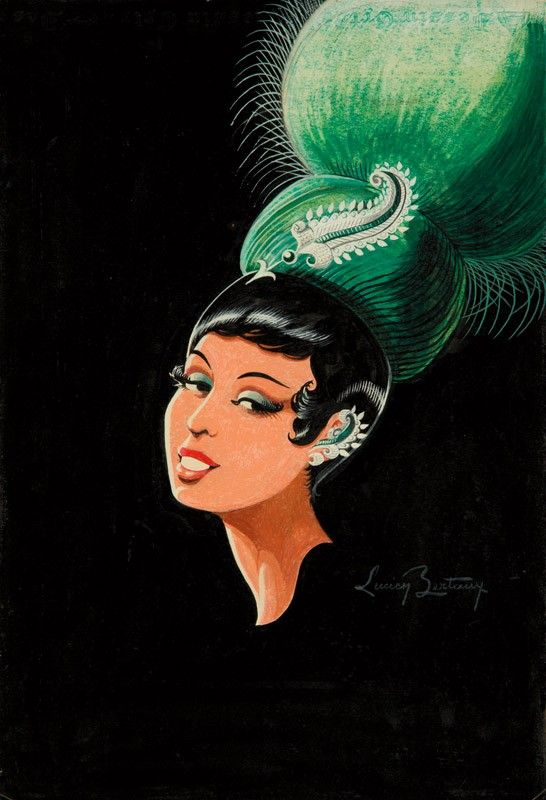 Costume design for Josephine Baker by Artist: LUCIEN BERTAUX. A prolific costume designer, Bertaux created many special outfits just for Josephine Baker. Here, we are offered a headdress of emerald green feathers, built up around her slick short hair like a jewel-toned cockatoo. Pinned dramatically in the front is a diamond-encrusted paisley design, echoing the diamond cuff curling around her ear. Staring with sultry bedroom eyes at the viewer, this is both a sensual and dramatic