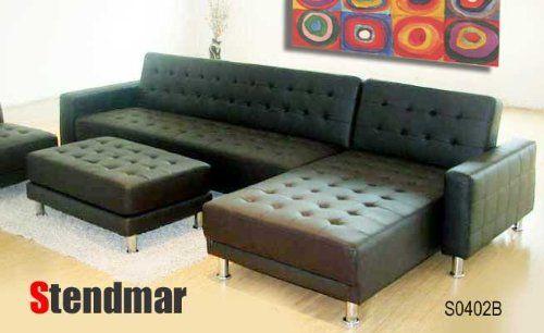 Sectional Sofa New Euro Design Black Leather Sectional Sofa Sleep Bed Sb STENDMAR http