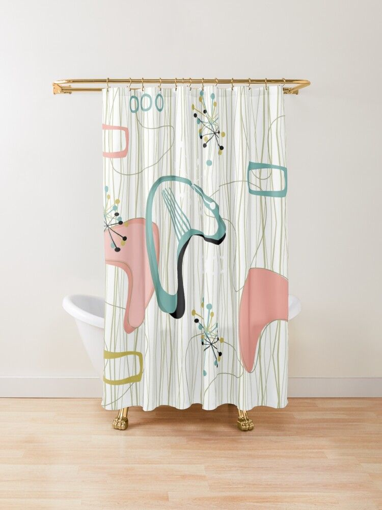 Retro Eames Era Atomic Inspired 3 Shower Curtain By Makanahele In 2020 Eames Shower Curtain Designer Shower Curtains