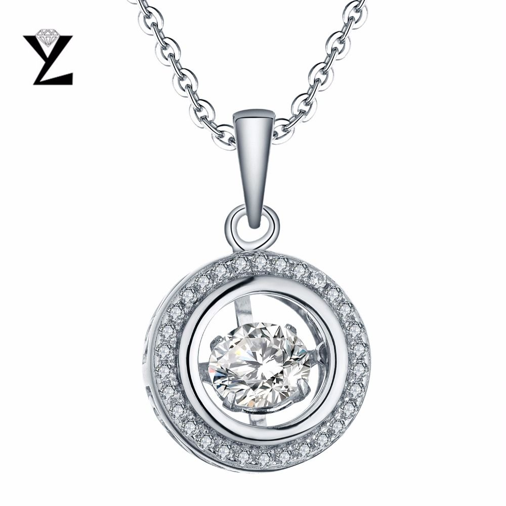 Yl 925 necklace sterling silver engagement wedding women round cut yl dancing topaz 925 sterling silver engagement wedding fashion necklaces for women 2017 with round mozeypictures Image collections