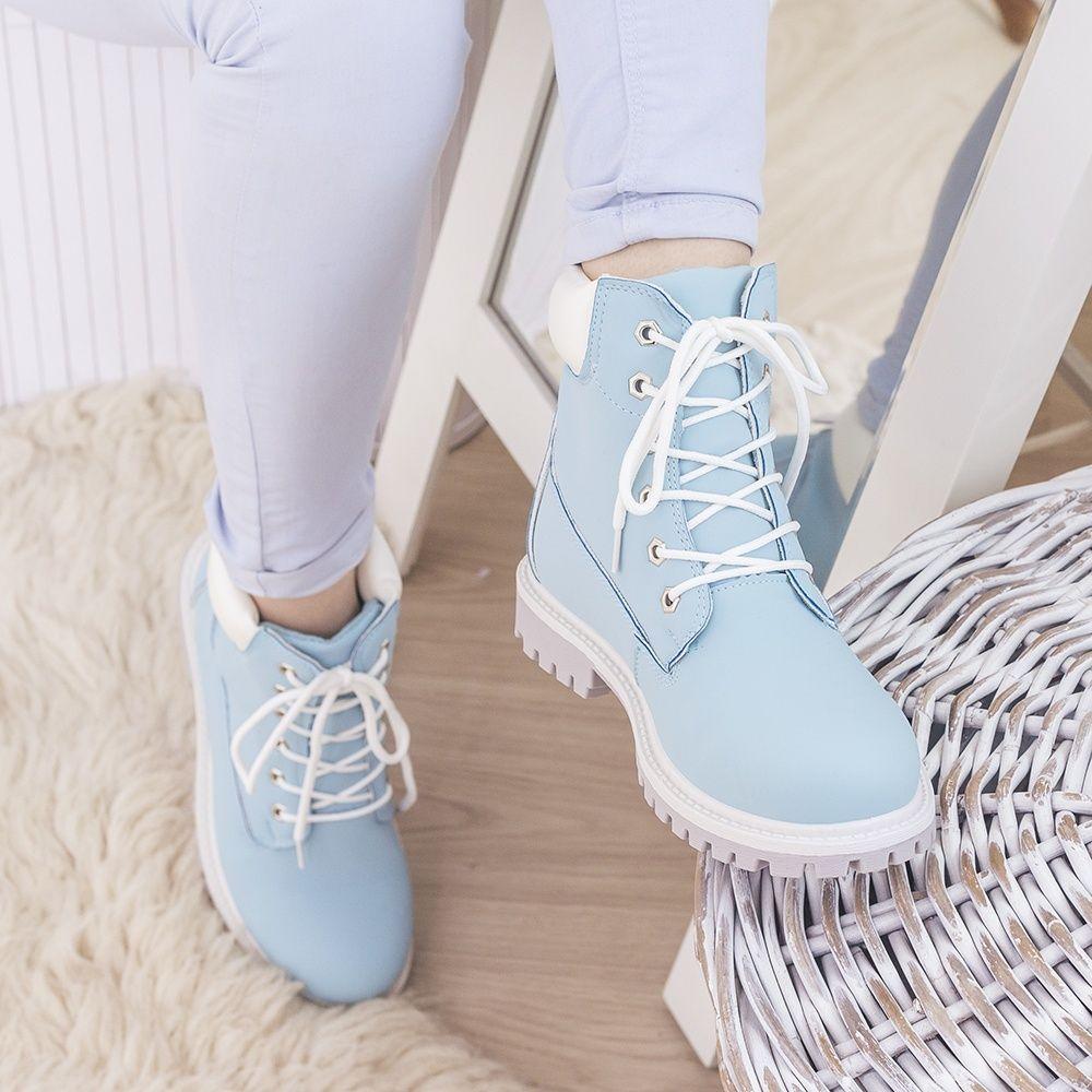 Blekitne Wiosenne Trapery Obuwie Damskie Botki Shoes Footwear Sneakers