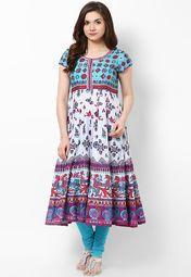Biba Aqua Blue Printed Cotton Kurta Online Shopping Store