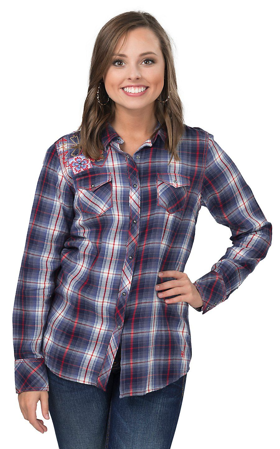 Ariat womens ashley navy red and white plaid with floral