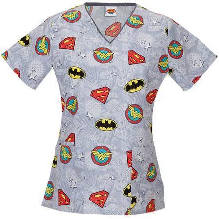 6eb0e21a30f DC Comics Women's Fashion Collection Super Heroes V-Neck Scrub Top -  Walmart.com