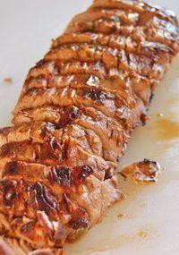 Pork Tenderloin - so good! (marinated in olive oil, soy sauce, red wine vinegar, lemon juice, Worcestershire sauce, parsley, dry mustard, pepper and garlic)- GF soy sauce...