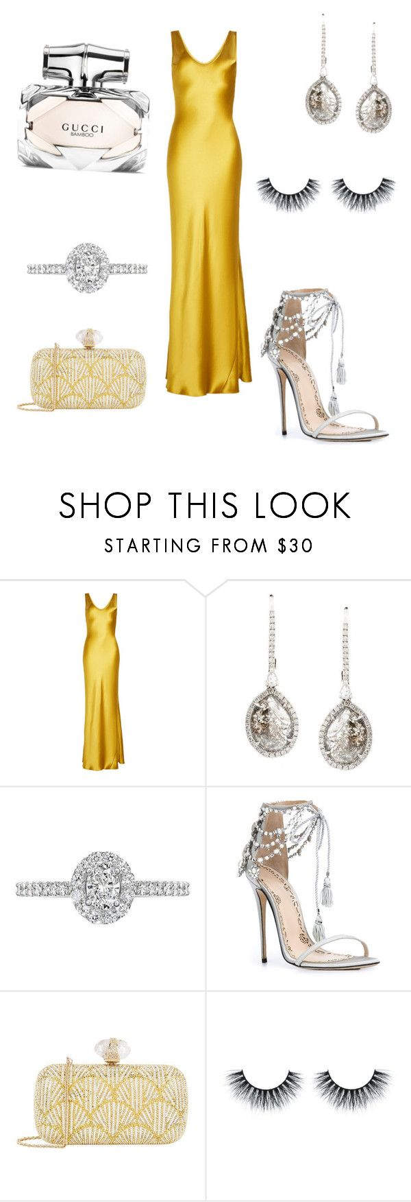 """""""Untitled #20"""" by em2017 ❤ liked on Polyvore featuring Galvan, Saqqara, EWA, Marchesa, Judith Leiber and Gucci"""