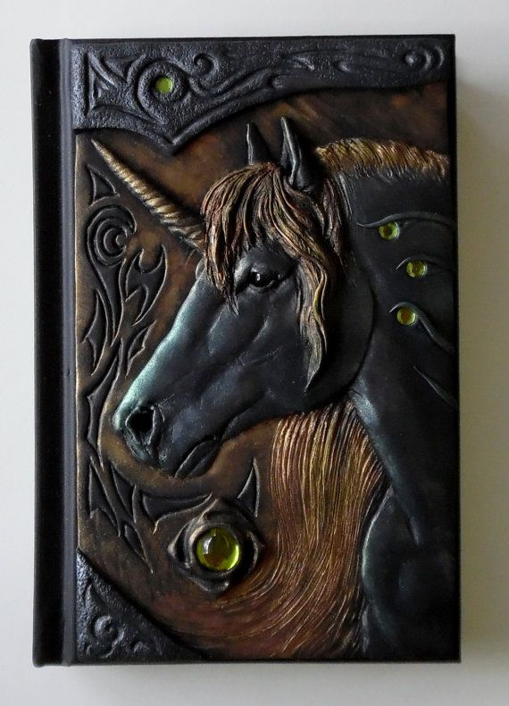 Diy Unicorn Book Cover : Unicorn journal polymer clay fantasy blank by