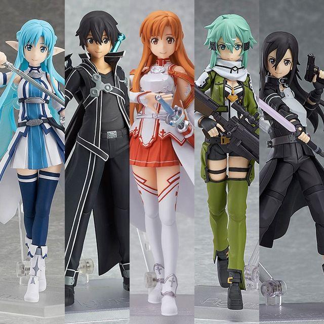 Anime Set of 6pcs Sword Art Online Asuna Kirito Leafa Shirika Lisbet Figure Toy