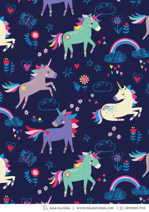 Inga Wilmink for Hemmers Itex - Unicorns | Wallpaper in ...