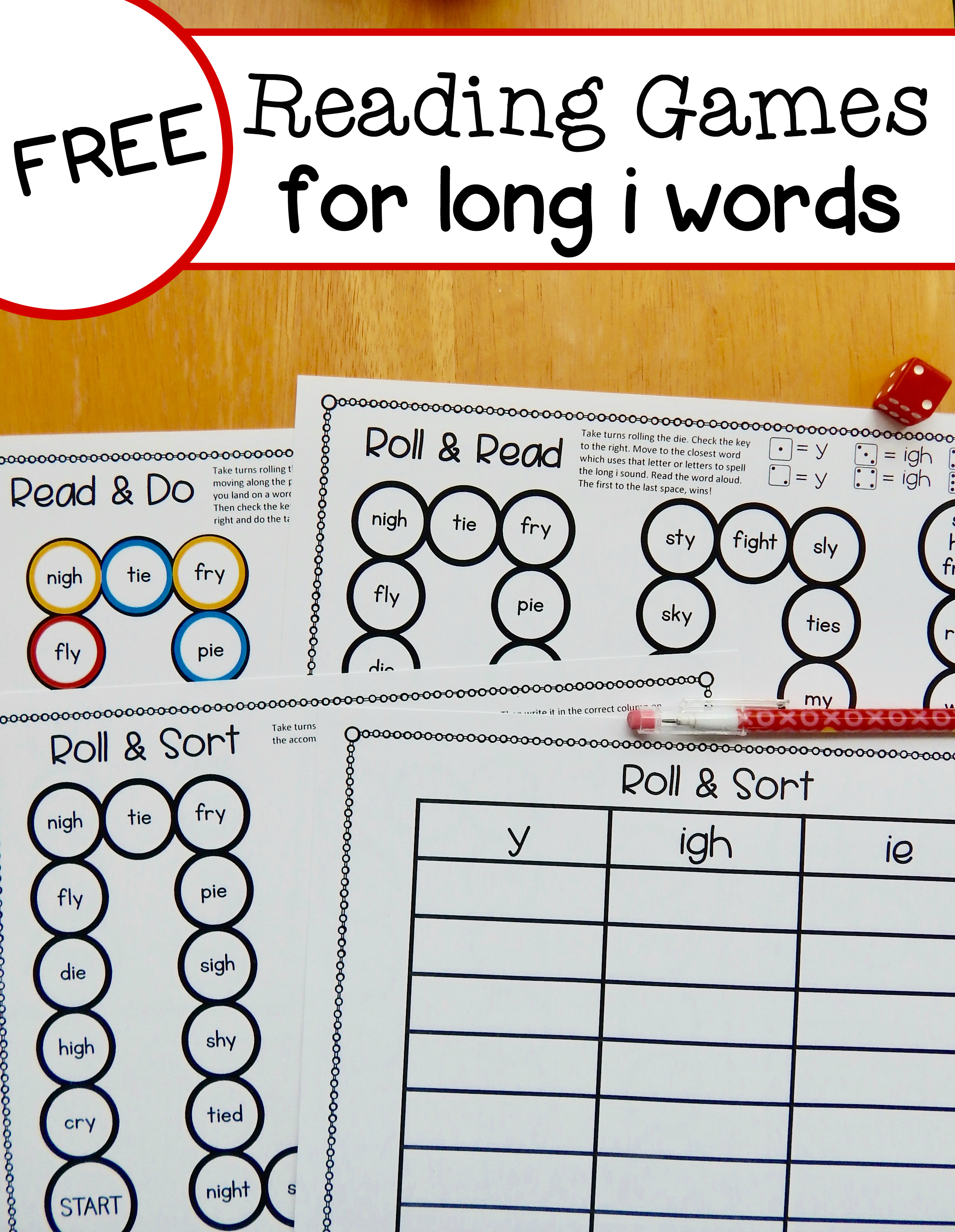 Worksheets Igh Words Phonics free long i reading games for y ie and igh words students the measured mom