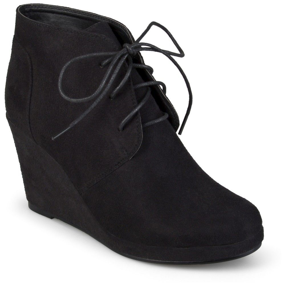 5a72907e4ee6 Women s Journee Collection Faux Suede Wedge Booties - Black 6.5 ...