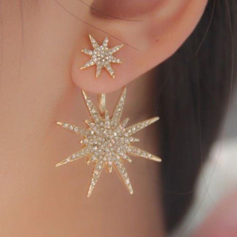 1 Pc Cute Crystal Rhinestone Dangle Gold Earrings Star Ear