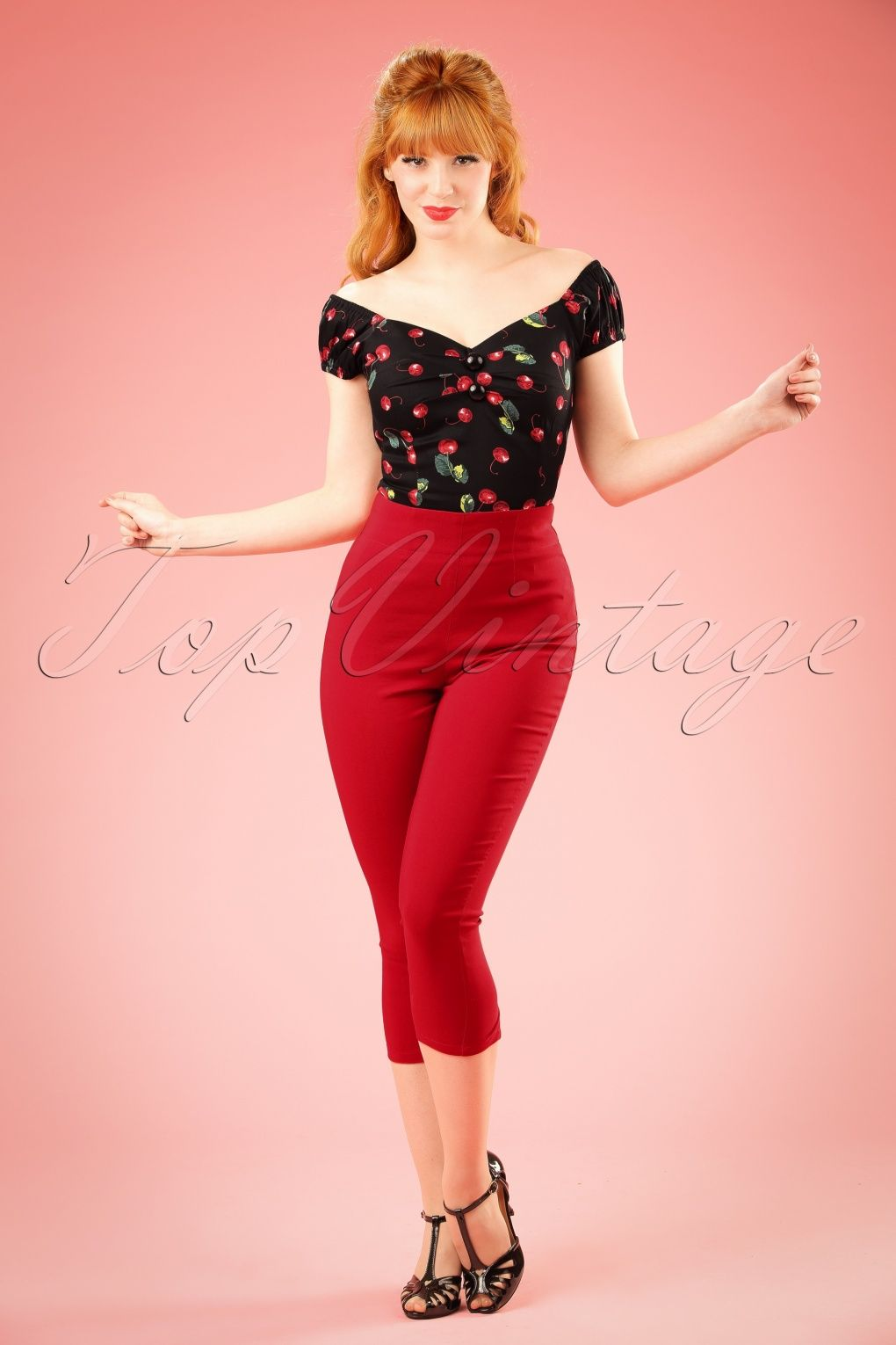 50s Tina Capri Pants in Red