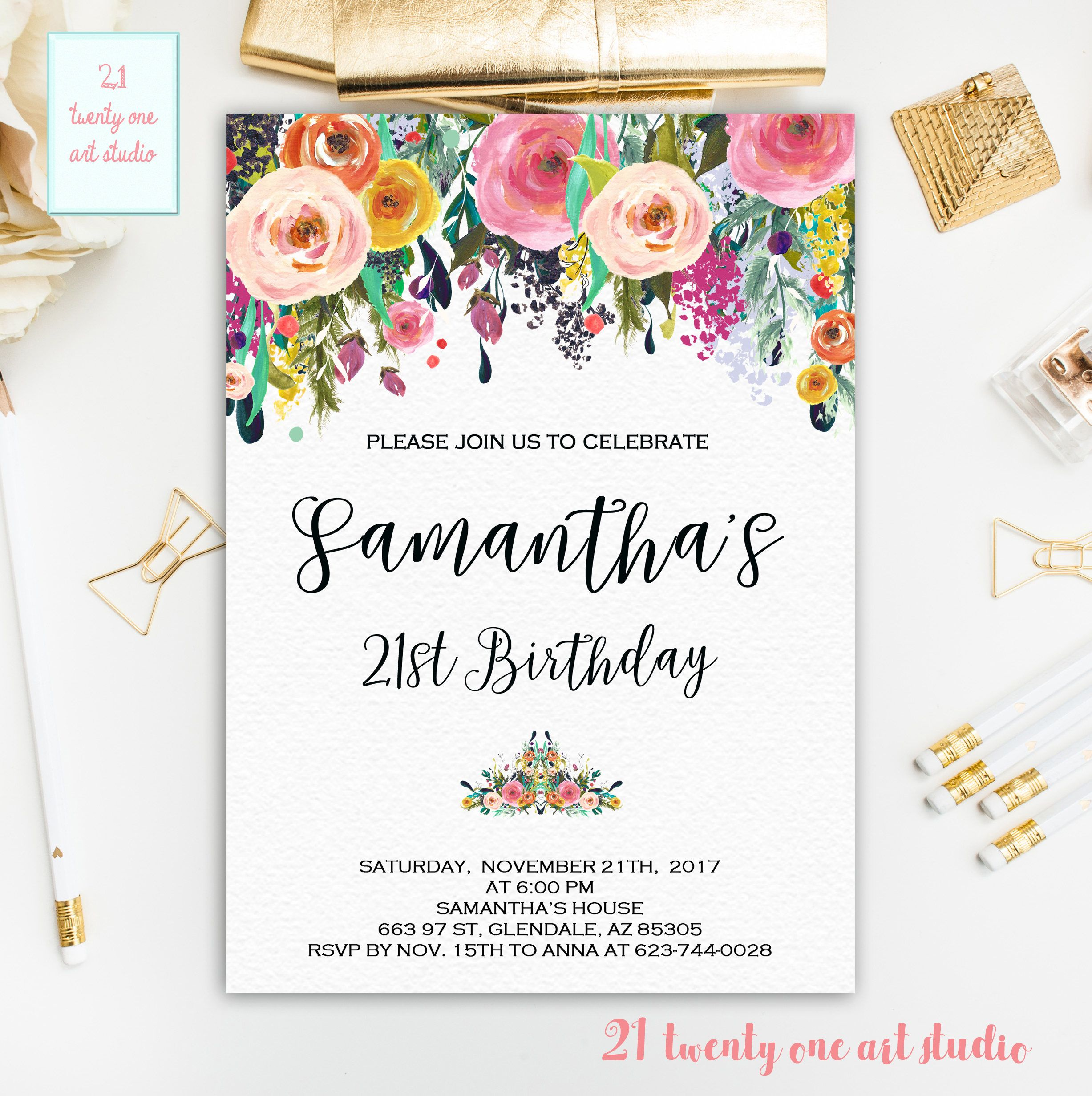 21st Birthday Invitation, Floral Birthday Invite, Watercolor Flower ...