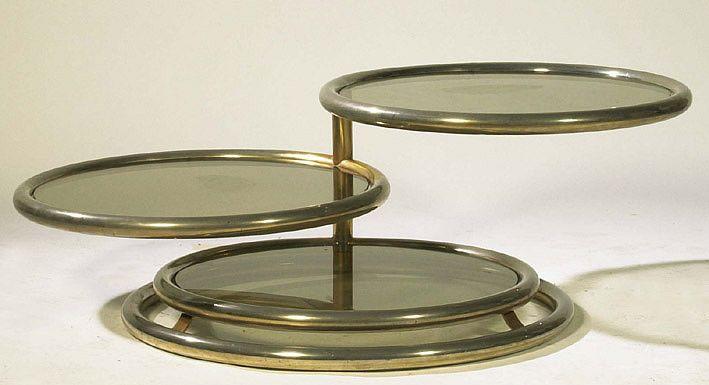 Mod 0068 Table De Salon A 3 Plateaux Pivotants Metal Chrome Et Verre Table De Salon Table Basse Verre