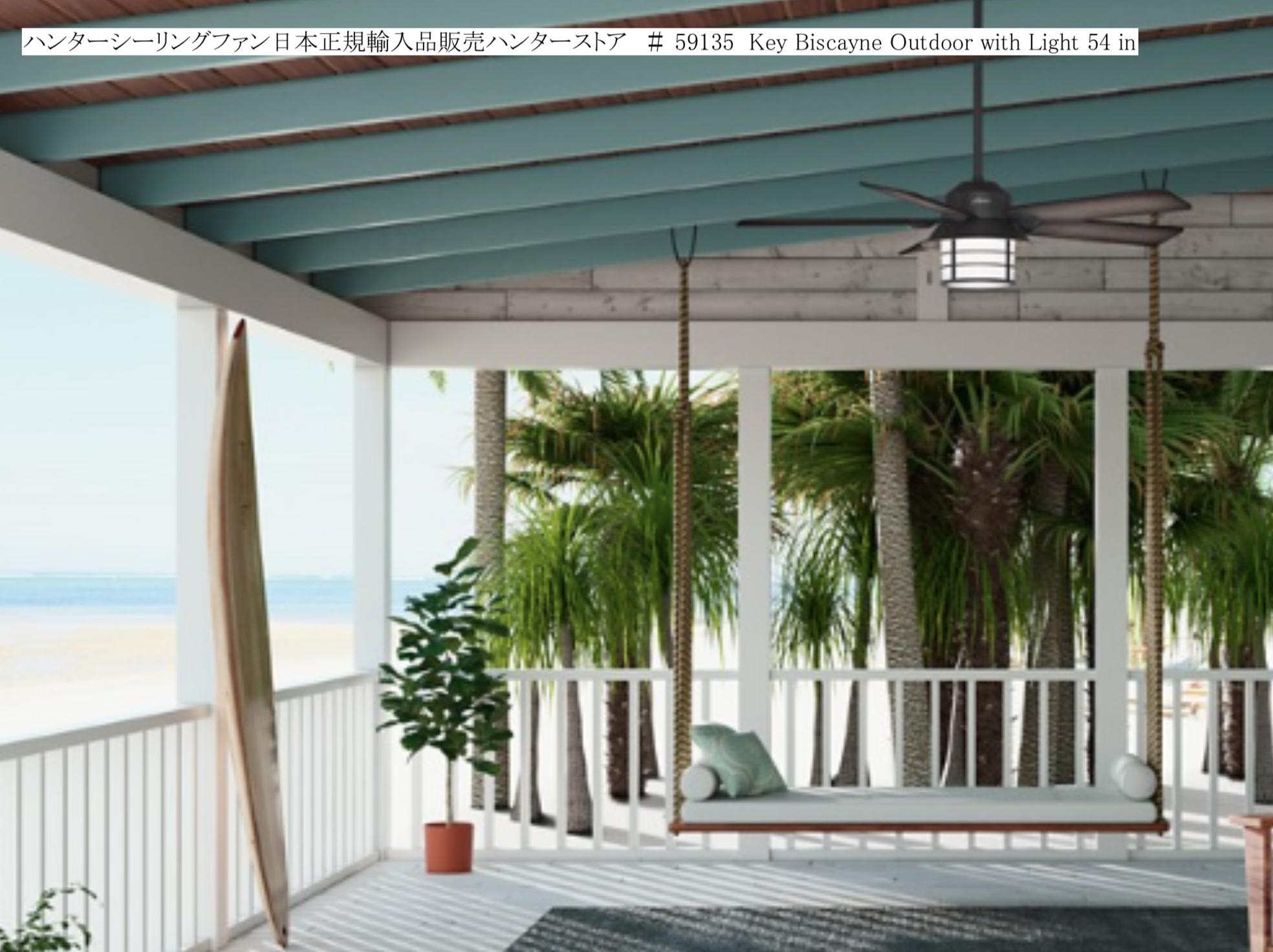 屋根がある野外設置対応 耐湿性能に優れた照明付きシーリングファン
