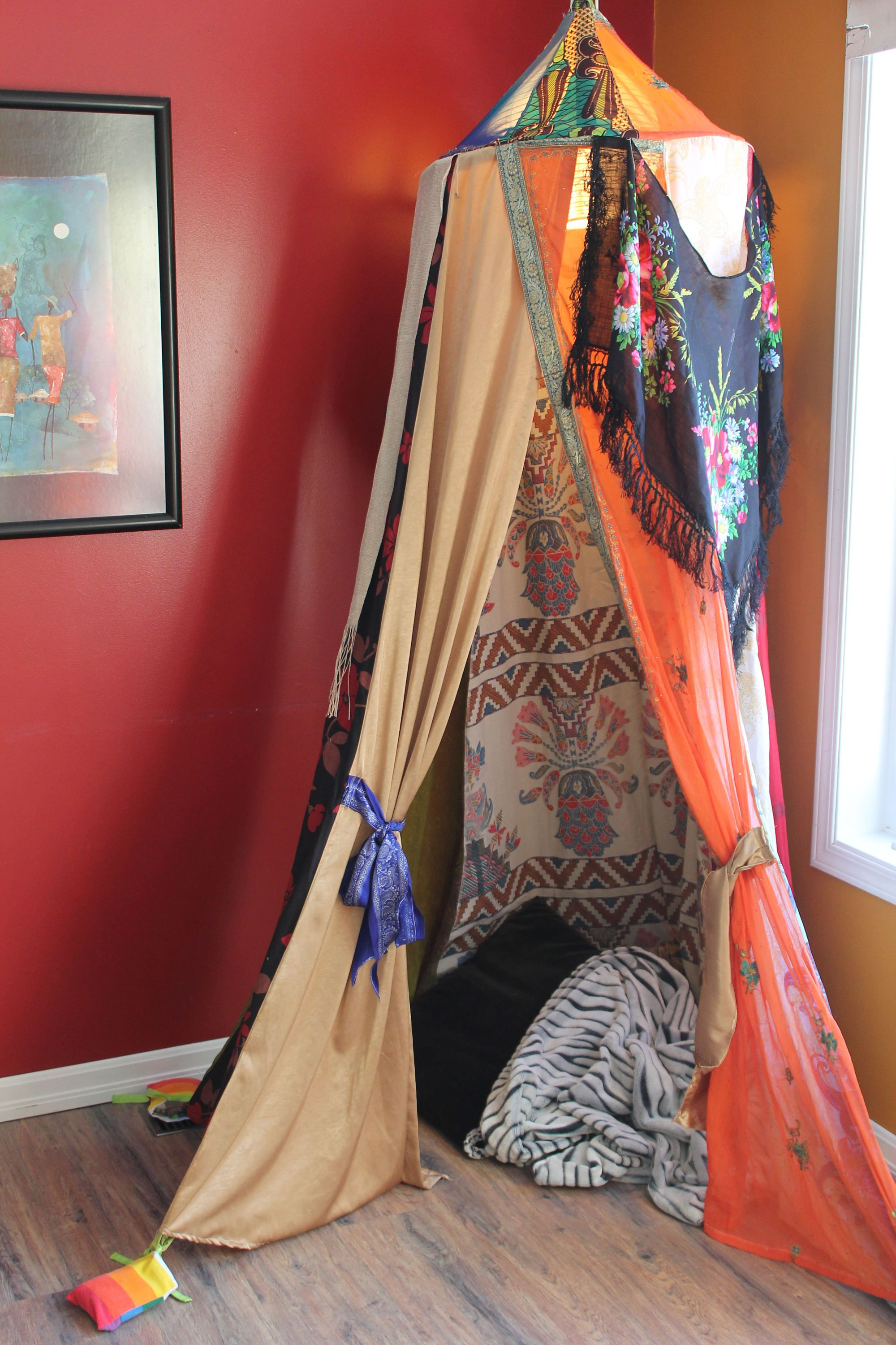 Whimsical play tent, bohemian bed canopy, hulahoop tent ...