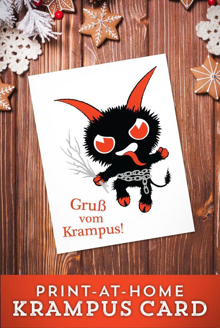 Printable Krampus Christmas Card | Krampus crafts and decorations ...