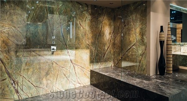 Rain Forest Green Marble Bathroom Design