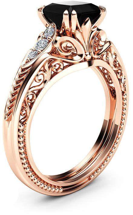 Etsy Black Diamond Victorian Engagement Ring Princess Black Dia