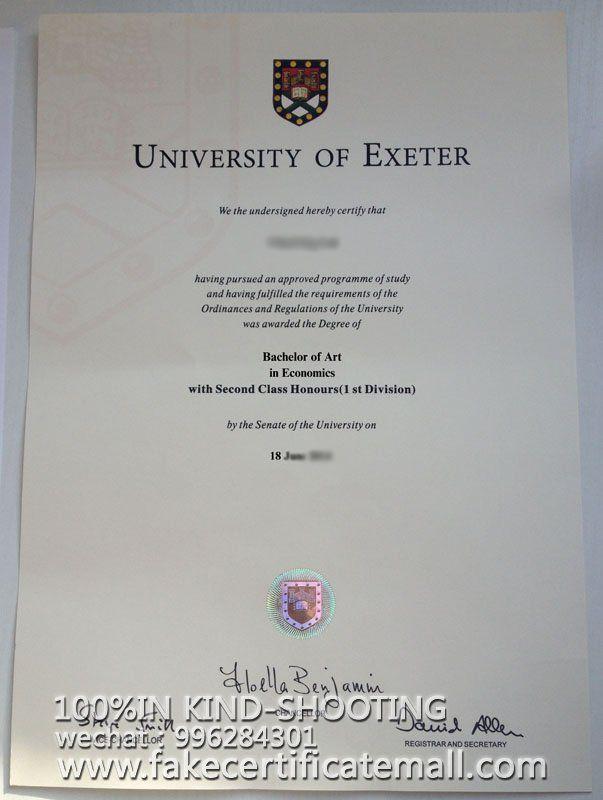 University of Exeter bachelor certificate,University of Exet-Fake