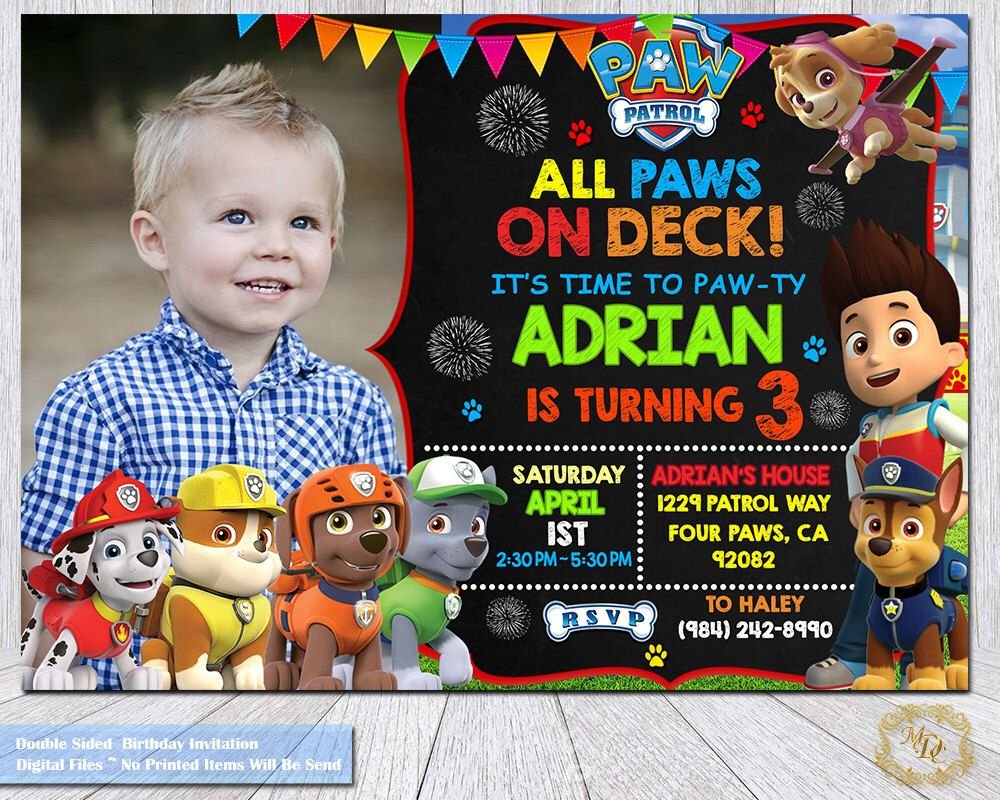 Paw Patrol Birthday InvitationPaw PatrolPhoto InvitationInvitations
