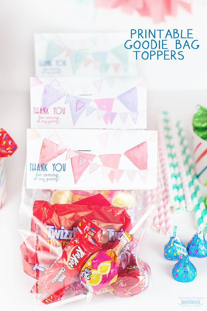 Free Printable For Your Birthday Party Thank You Goodie Bag Toppers