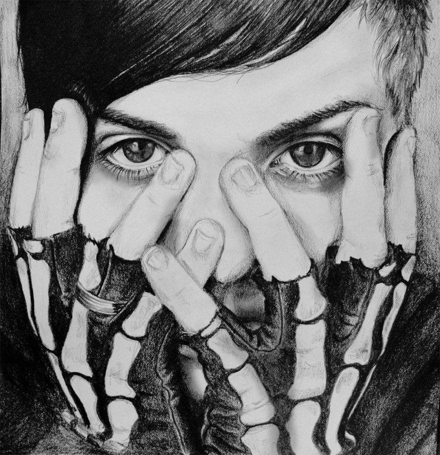 Frank Iero with his skeleton gloves
