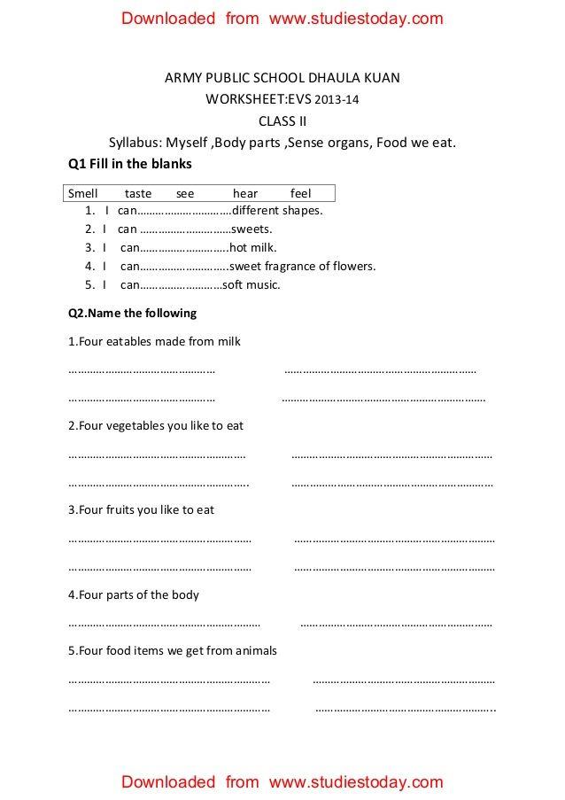 Printable Worksheets social studies worksheets grade 3 : ARMY PUBLIC SCHOOL DHAULA KUAN WORKSHEET:EVS 2013-14 CLASS II ...