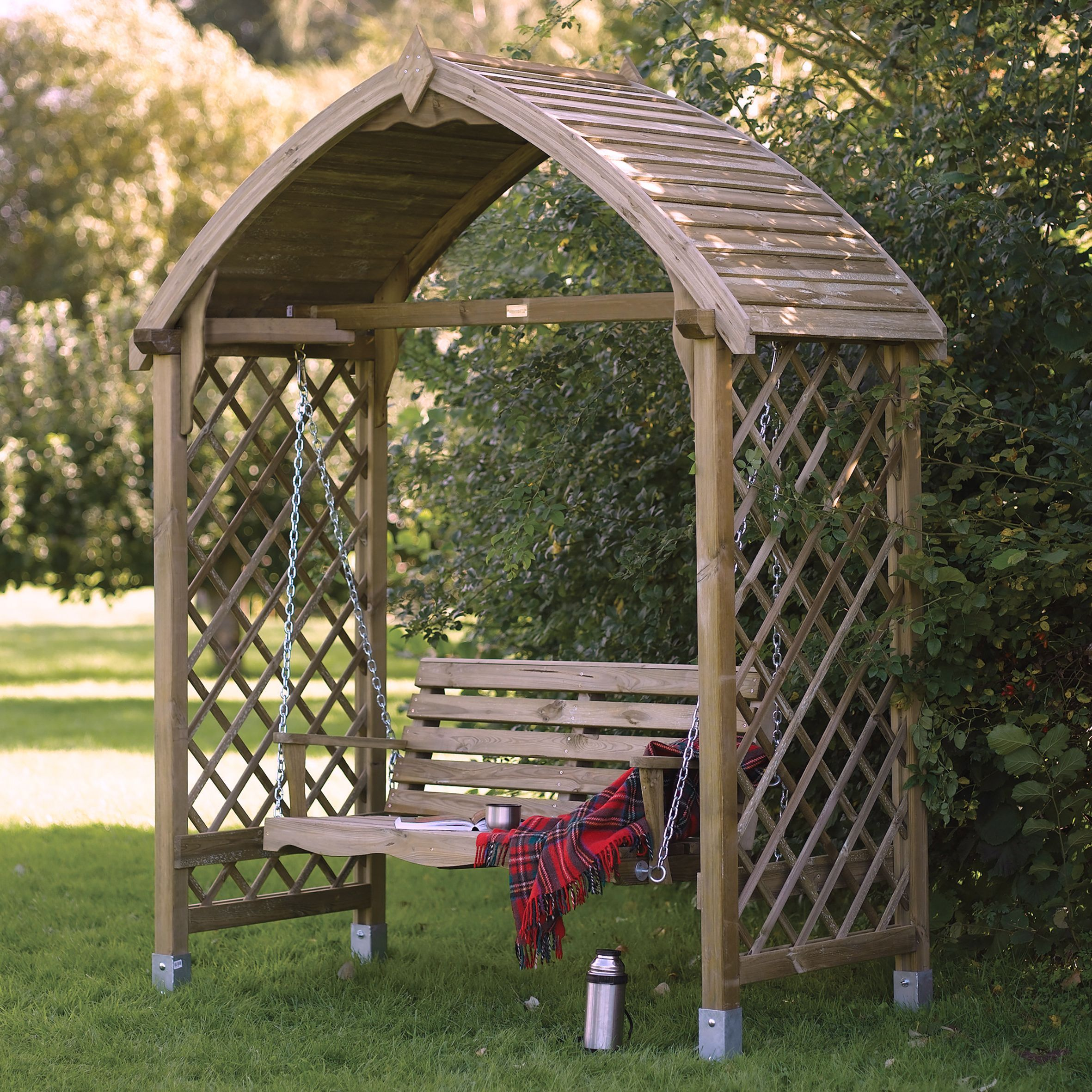 Wooden Garden Benches B Q: Barmouth Wooden Swing Seat