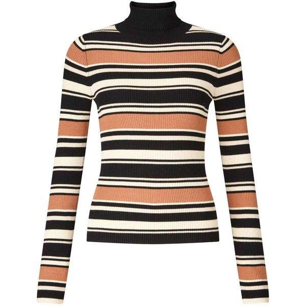 Miss Selfridge Camel Stripe Rib Jumper ($12) ❤ liked on Polyvore featuring tops, sweaters, camel, fine gauge sweater, miss selfridge, stripe top, camel top and rib sweater