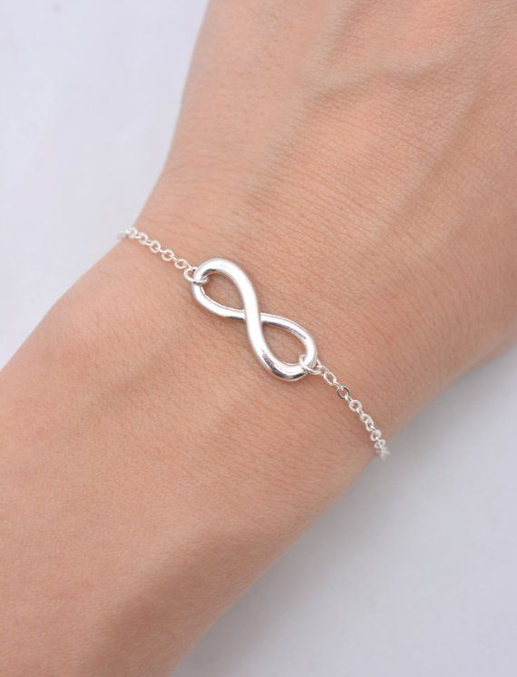 Infinity Bracelet With Sterling Silver Chain Charm Gift For Her 0196