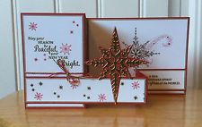 Christmas card kit - red & gold d z-fold star of light - md w/ Stampin Up pro