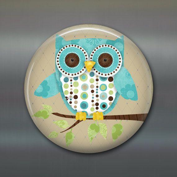 owl decor, fridge magnet, kitchen decor, large fridge magnet, cute owl MA-100. $5.00, via Etsy.