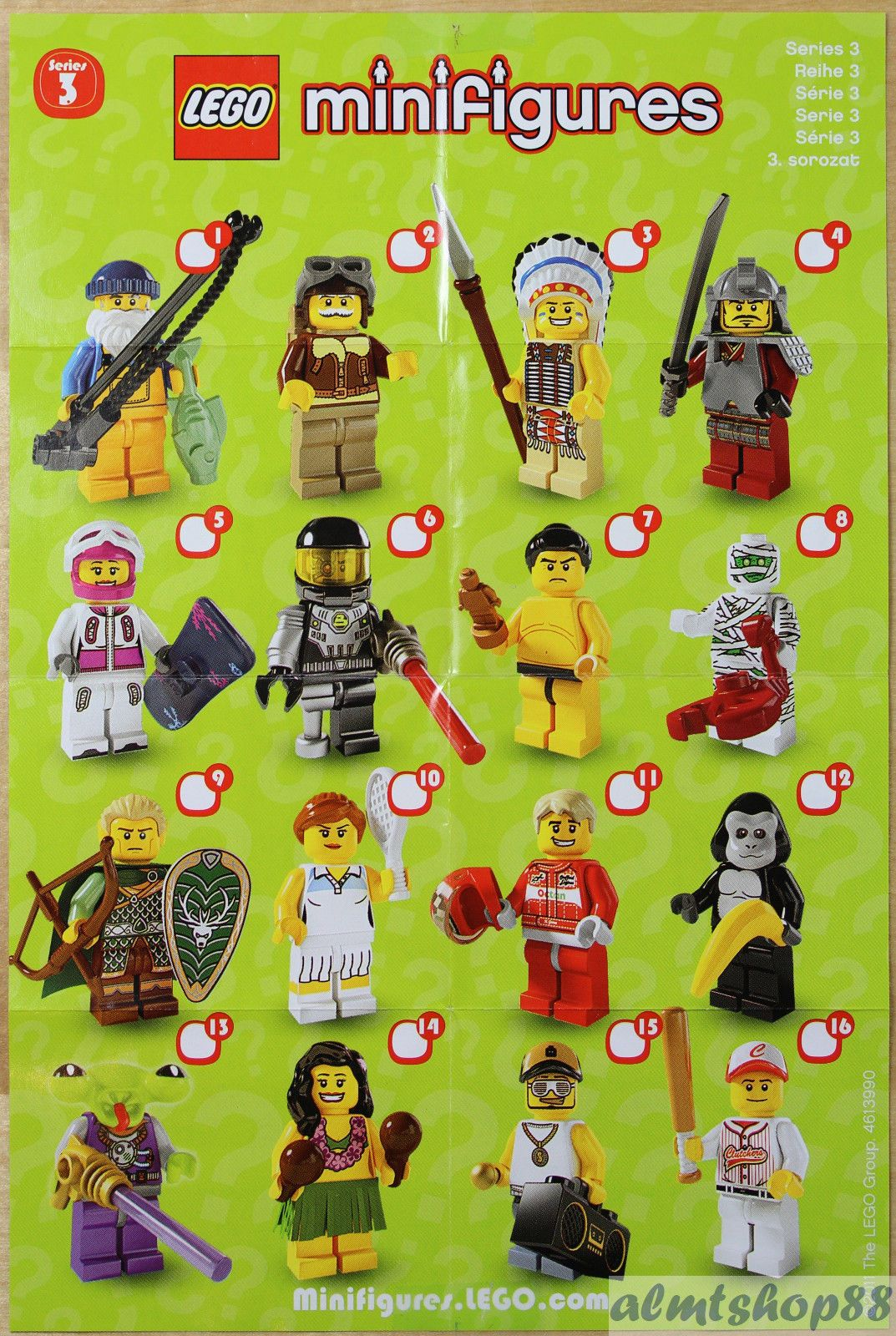 lego mini poster leaflet minifigures series 1 2 3 4 5 6 7 8 9 10 11 12 13 14 15 lego lego. Black Bedroom Furniture Sets. Home Design Ideas